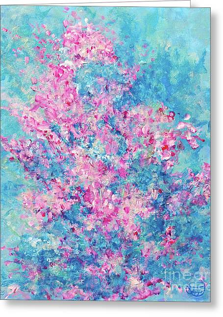 Greeting Card featuring the painting Redbud Special by Nancy Cupp
