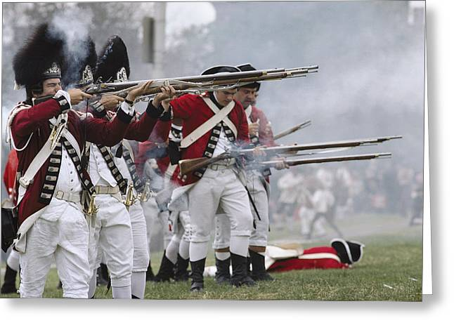 Redcoats Shoot Muskets In A Reenactment Greeting Card by Ira Block