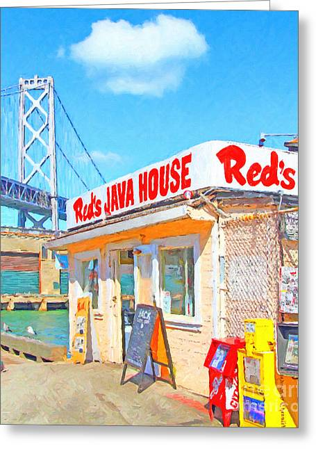 Reds Java House And The Bay Bridge At San Francisco Embarcadero Greeting Card by Wingsdomain Art and Photography