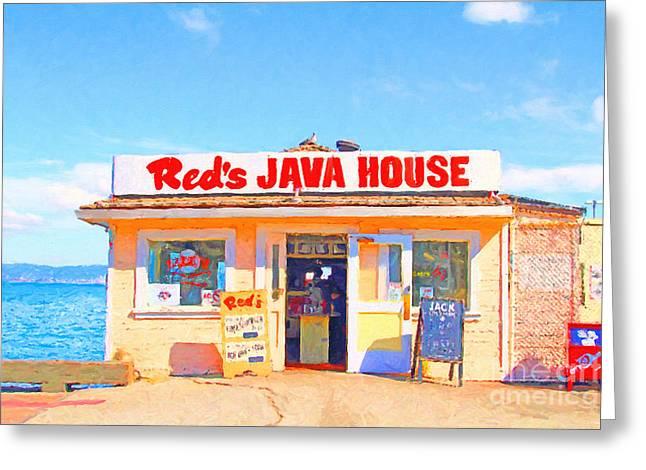 Reds Java House At San Francisco Embarcadero Greeting Card by Wingsdomain Art and Photography
