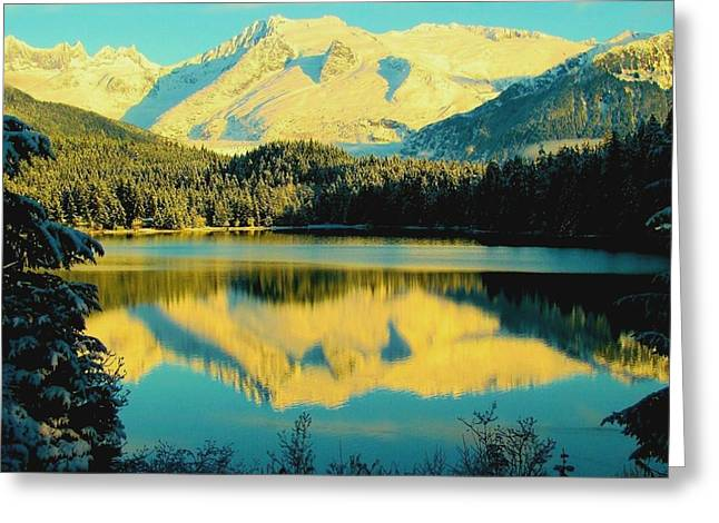 Greeting Card featuring the photograph Reflecting On Auke Lake by Myrna Bradshaw