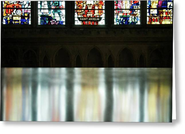Reflecting On The Beauty Of Canterbury Cathedral Greeting Card by Lisa Knechtel