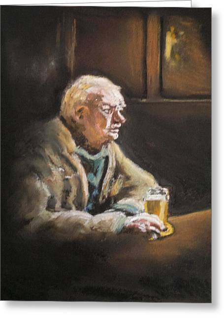 Reflecting Over A Pint Greeting Card by Paul Mitchell