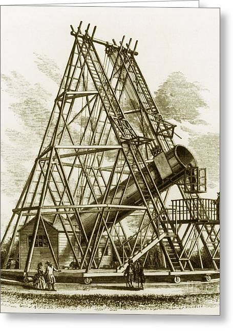 Reflecting Telescope, 1789 Greeting Card by Science Source
