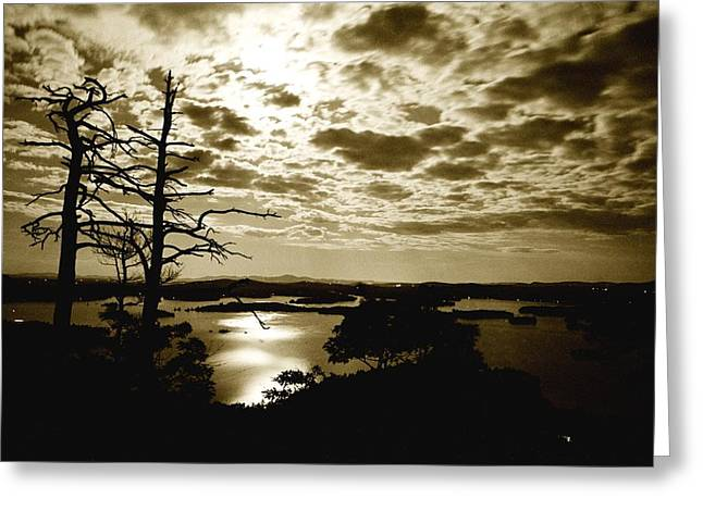 Greeting Card featuring the photograph Reflection Of Moonlight On Squam by Rick Frost