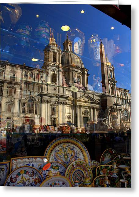 Greeting Card featuring the photograph Reflection Piazza Navona by Caroline Stella
