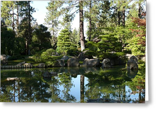 Reflections In A Japanese Garden Greeting Card by Terri Thompson
