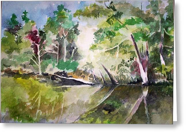 Greeting Card featuring the painting Reflections Of Blackwater River Fl. by Richard Willows