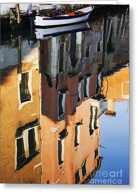 Reflections Of Building In Canal Greeting Card