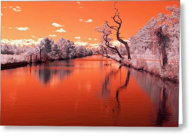 Reflections On Canal In Infra Red Greeting Card by Jackie Briggs