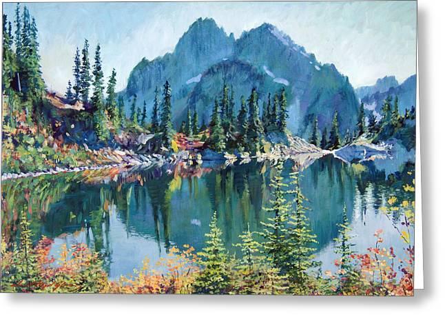 Reflections On Gem Lake Greeting Card by David Lloyd Glover