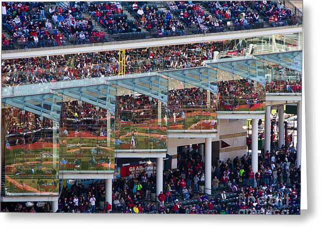 Reflections On Opening Day Greeting Card by Jeremy Fear