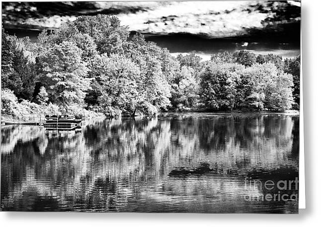 Reflections On The Lake Greeting Card by John Rizzuto