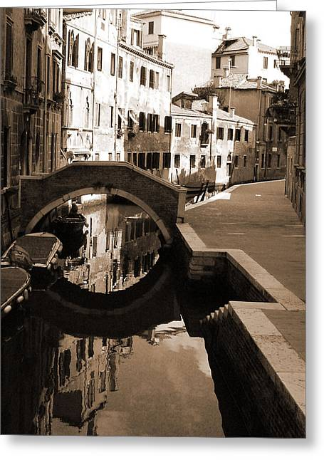 Reflections On Venetian Canal Greeting Card by Donna Corless