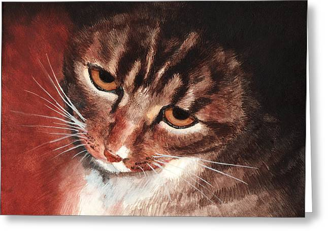 Reflective Kitty Greeting Card by Tricia Griffith