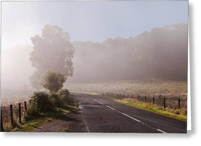 Refreshing Morning Fog In Trossachs. Scotland Greeting Card by Jenny Rainbow