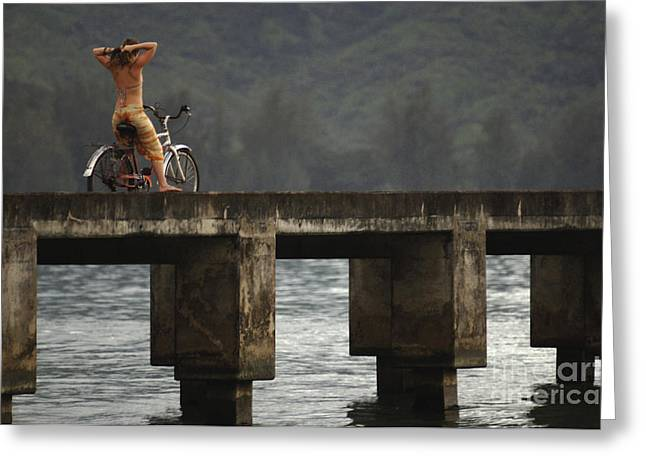 Relaxed Ride Hanalei Bay Greeting Card by Bob Christopher
