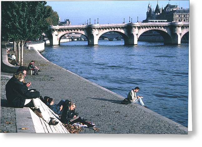 Relaxing Along The Seine Greeting Card by Tom Wurl