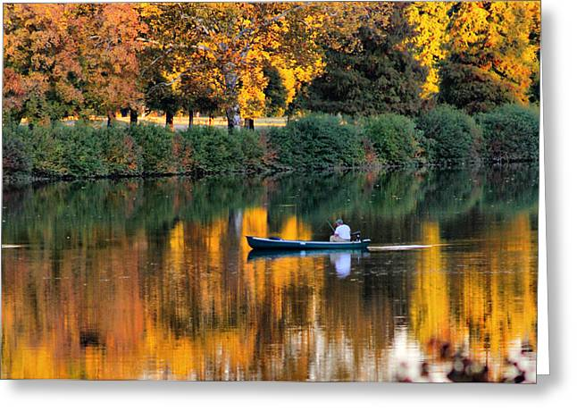 Relaxing Fall Greeting Card by Greg Sharpe