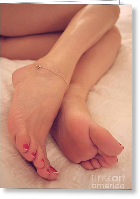 Relaxing Feet Greeting Card by Tos Photos