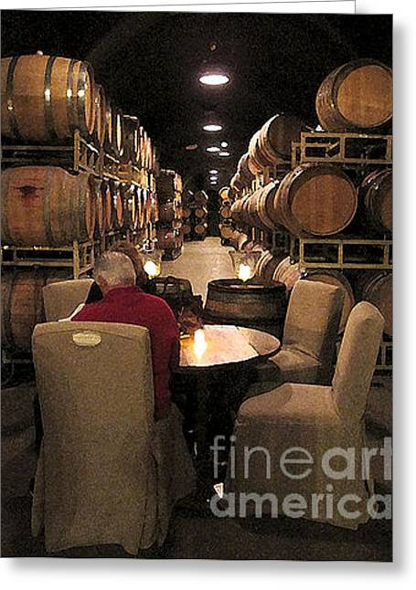 Greeting Card featuring the photograph Relaxing In The Wine Caves by Leslie Hunziker