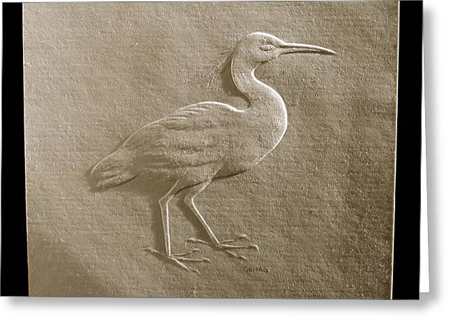 Relief Bird On Paper Greeting Card