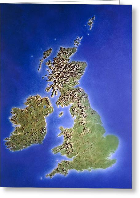 Relief Map Of The United Kingdom And Eire Greeting Card by Julian Baum.