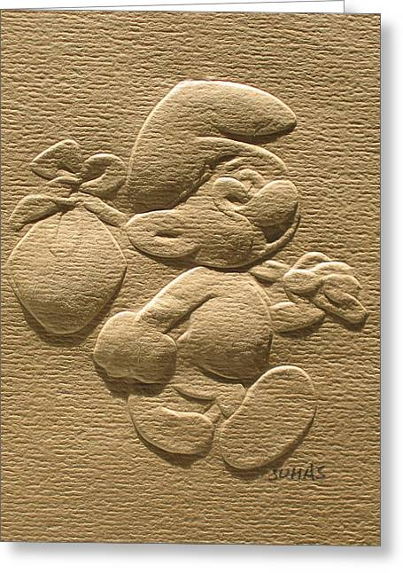 Relief Smurf On Paper  Greeting Card