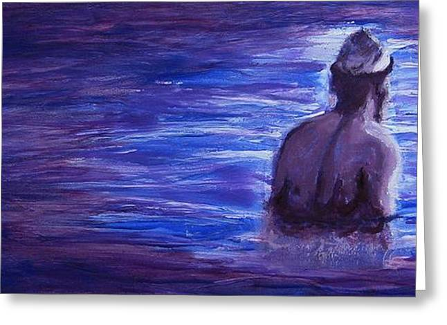 Greeting Card featuring the painting Religious Nude Male Dipping In Mikveh Baptism In Swirling Water Pool In Purple Blue  by M Zimmerman