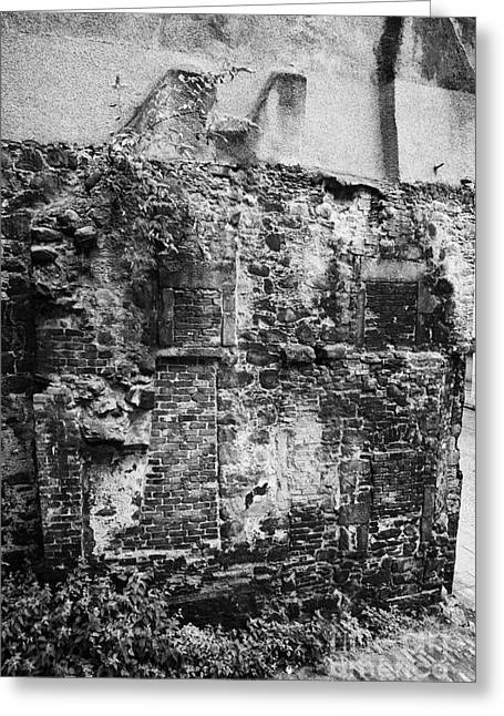 Remains Of An Old Historic House With Multiple Fireplaces In The Wall Of The Old Town Aberdeen Scotl Greeting Card by Joe Fox