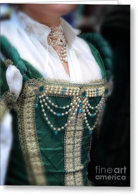 Renaissance Lady In Green Greeting Card by Jill Battaglia