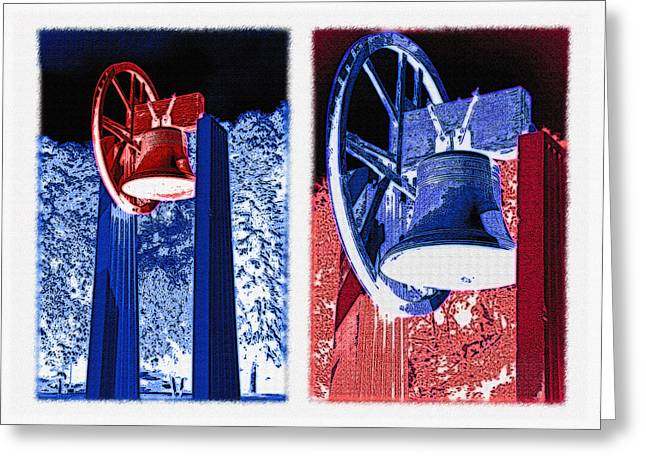 Replica Of Liberty Bell - Americana Rwb Diptych - Inverted Greeting Card by Steve Ohlsen