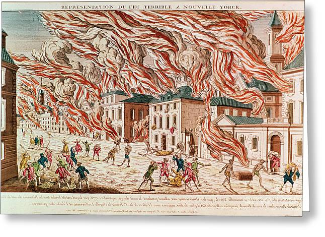 Representation Of The Terrible Fire Of New York Greeting Card