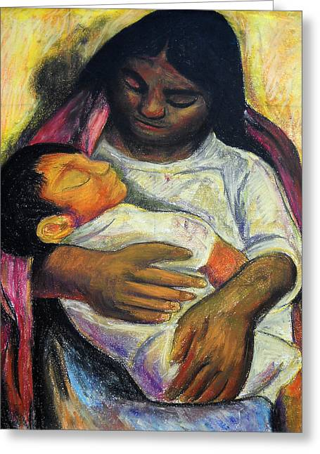 Reproduction Of Diego Rivera's- Mother And Child Greeting Card by Duwayne Washington