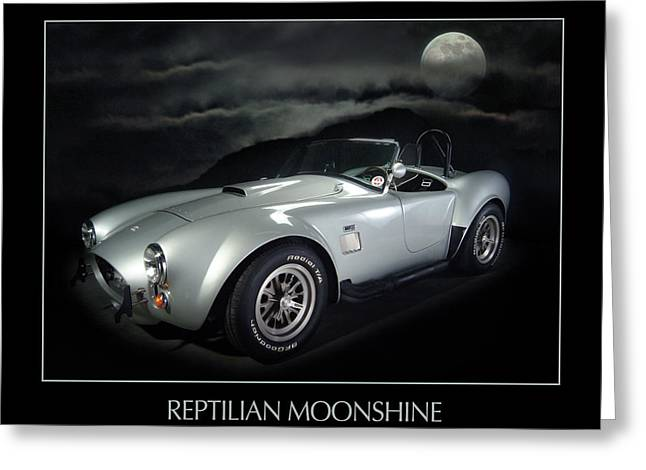 Reptilian Moonshine Greeting Card by Robert Twine