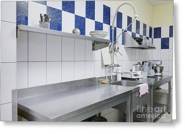 Restaurant Kitchen Sink And Counters Greeting Card by Magomed Magomedagaev