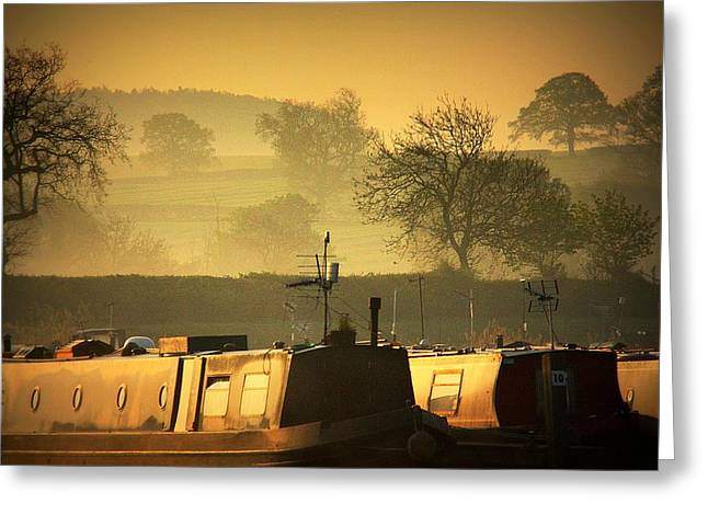 Greeting Card featuring the photograph Resting Narrowboats by Linsey Williams