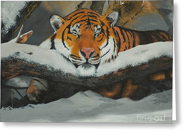 Resting Tiger Greeting Card by Thomas Luca