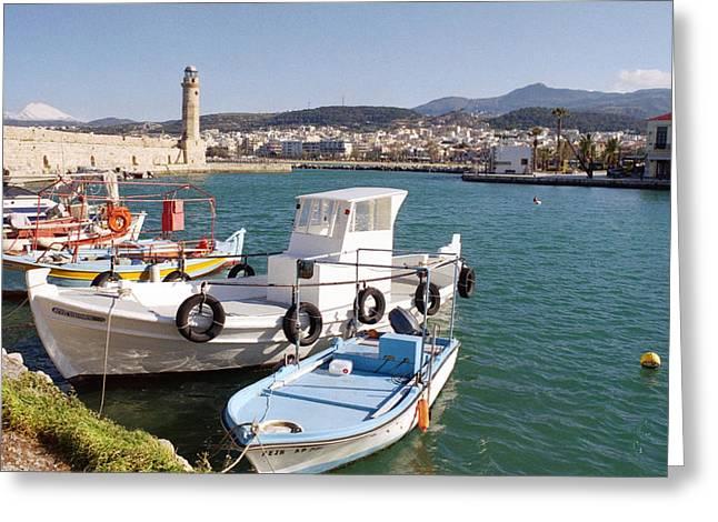 Rethymnon Harbour In Crete  Greeting Card by Paul Cowan