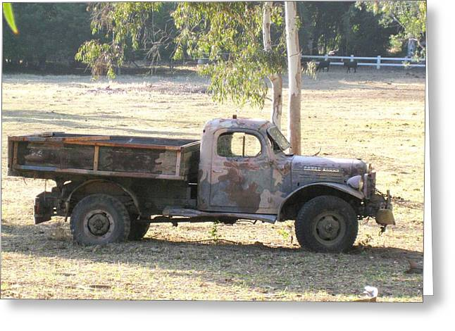 Greeting Card featuring the photograph Retired Power Wagon by Sue Halstenberg