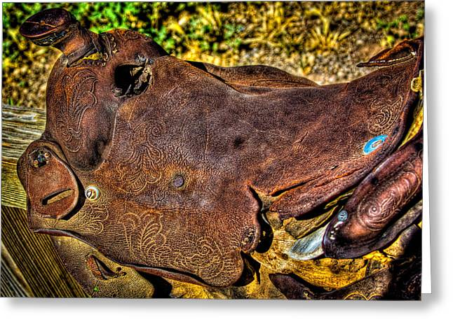 Retired Saddle Greeting Card by David Patterson