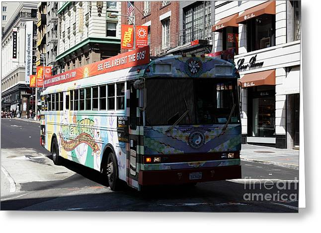 Retro 60s San Francisco Haight Ashbury Magic Bus - 5d18009 Greeting Card by Wingsdomain Art and Photography