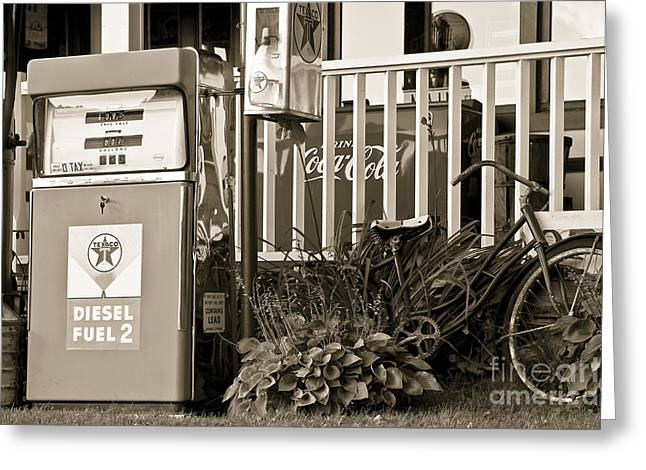 Retro Fuel For Life Greeting Card by Brenda Giasson