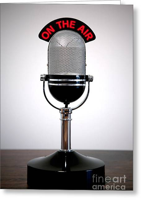 Retro Microphone  Greeting Card by Richard Thomas