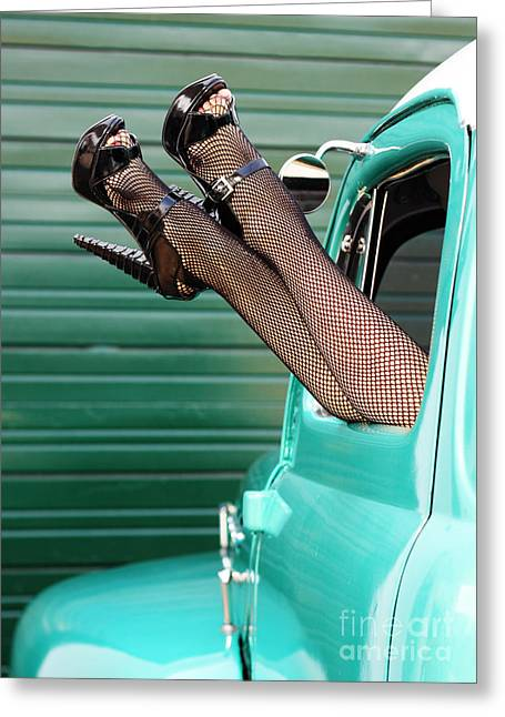 Retro Pinup Legs Greeting Card by Val Armstrong