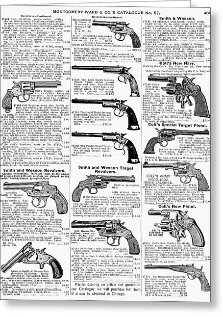 Revolvers And Pistols, 1895 Greeting Card by Granger
