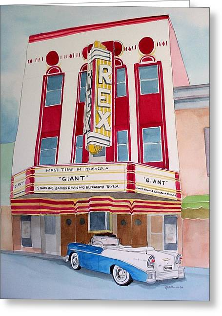 Greeting Card featuring the painting Rex Theater by Richard Willows