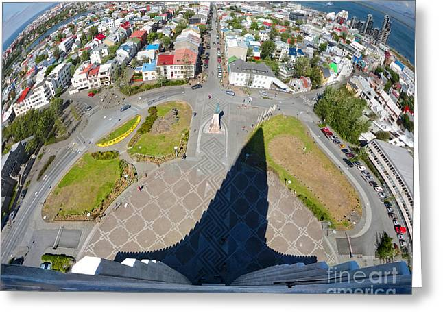 Reykjavik Iceland - Aerial View Greeting Card by Gregory Dyer