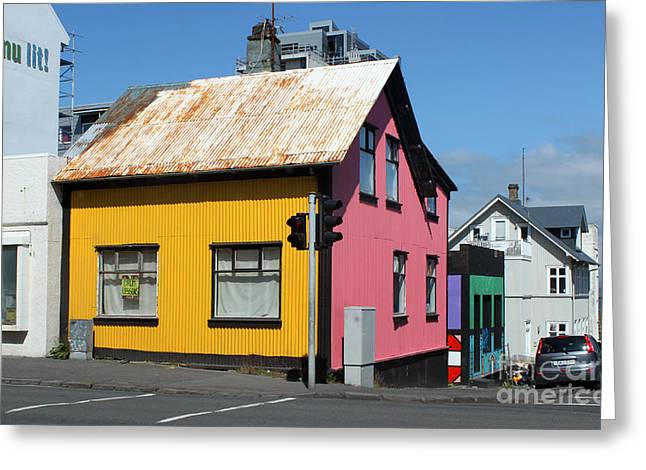 Reykjavik Iceland - Colorful House Greeting Card by Gregory Dyer