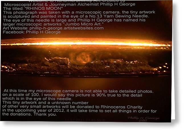 Rhinos Moon Greeting Card by Phillip H George